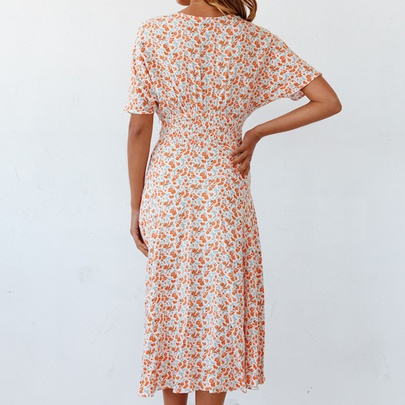 Fashion Casual Short-sleeved V-neck Printed Dress NSHHF53648