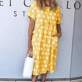 Sexy Polka Dot Print Pocket Loose Short Sleeve Long Dress NSHHF53653