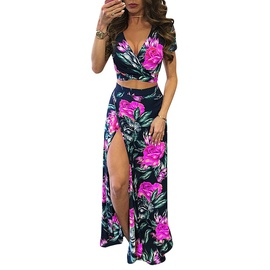 V-neck Short-sleeved Tops Print Split Dress Two-piece NSHHF53660
