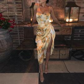 Printed V-neck Suspender Wrinkle Split Dress  NSHHF53662