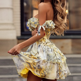 Sexy Printed Laminated Ruffle Sling Lace-up Short Dress NSHHF53673