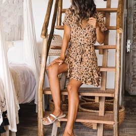 V-neck Leopard Print Single-breasted Lace-up Ruffled Dress NSHHF53681