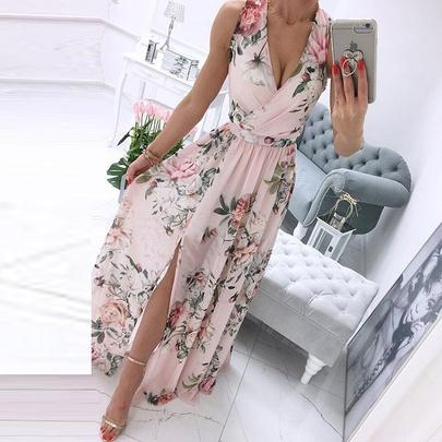 Sleeveless V-neck Printed Split Zipper Long Dress  NSHHF53689