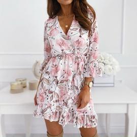 Fashion Print Ruffled V-neck Mid-sleeve Waist Lace-up Short Dress  NSHHF53691