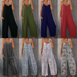 Summer New Solid Color Pocket Casual Jumpsuit NSHHF53693