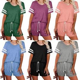 Spring And Summer New Solid Color Round Neck Short Sleeve Drawstring Set NSHHF53695