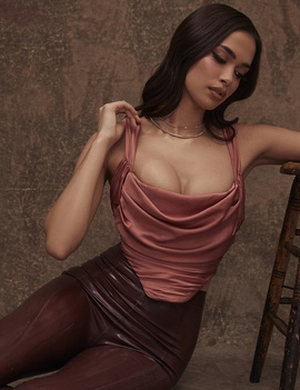 Square Collar Sexy Pleated Chest Wrap Suspender Top NSHAO53726
