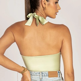Solid Color Hanging Neck Halter Sexy Cross Wrapped Chest Camisole NSHAO53747