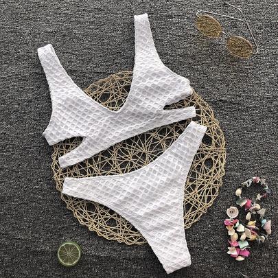 Pure Color Triangle Mesh Bikini Swimsuit NSLUT53935