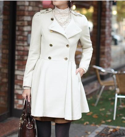 Double-breasted Long-sleeved Woolen Long Jacket NSJR51553
