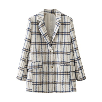 Retro Plaid Striped Woolen Blazer NSAM49747