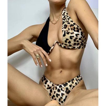 New Leopard Print Sexy Backless Split Hanging Neck Strap Bikini NSDYS53974
