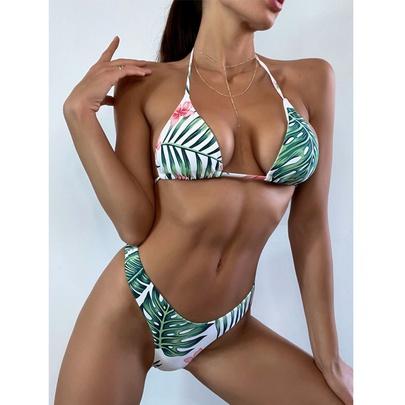 New Sexy Halter Print Split Three-piece Neck Strap Bikini NSDYS53975