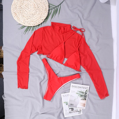 New Solid Color Elastic Halter Strap Three-piece Bikini Swimsuit  NSDYS54005