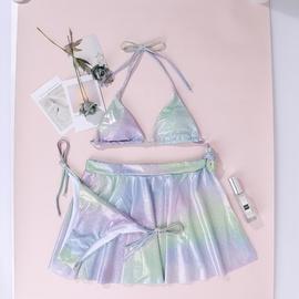 New Gradient Halter Lace-up Three-piece Bikini Swimsuit  NSDYS54011