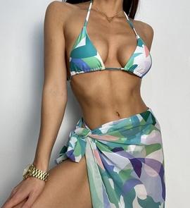 New Halter Printing Gradient Three-piece Bikini Swimsuit  NSDYS54015