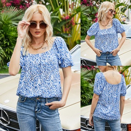 Summer New Style Square Neck Pullover Casual Halter Short-sleeved T-shirt NSLM54034