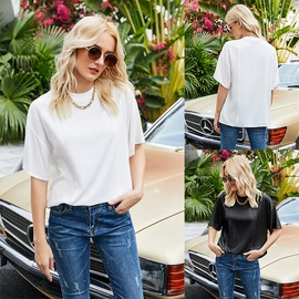 Summer New Solid Color Simple White Loose T-shirt  NSLM54048