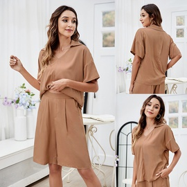 Summer Leisure And Comfortable Ladies Two-piece Loose Short-sleeved Shorts Suit V-neck Top Wide-leg Shorts Suit NSLM54049
