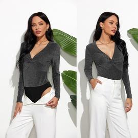 Autumn Sexy Pleated Fashion Stitching V-neck Slim Long-sleeved Bodysuit NSLM54051