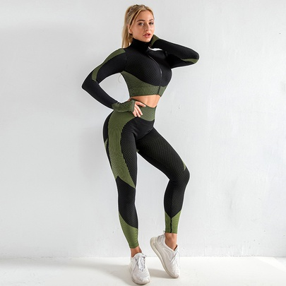 Seamless Long-sleeved Knitted Hip-lifting Elastic Sports Set NSZJZ54055