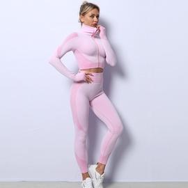 cremallera de punto sin costuras tops color sólido pantalones elásticos altos traje de fitness NSZJZ54065