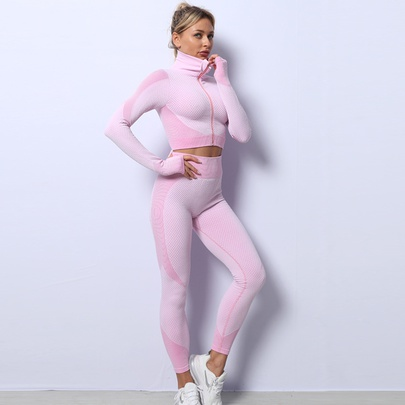 Seamless Knitted Zipper Tops Solid Color High Elastic Pants Fitness Suit NSZJZ54065