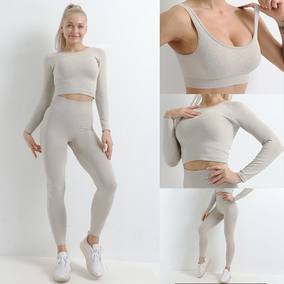 Seamless Autumn And Winter New Knitted Hip-lifting Elastic Fitness Set NSZJZ54072