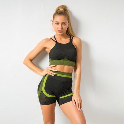 Quick-drying Yoga Wear Mesh Shorts Set NSZJZ54074
