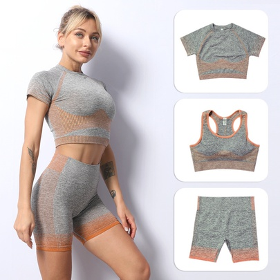 Beauty Back Short-sleeved Striped Seamless Shorts Fitness Set NSZJZ54085