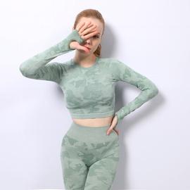Nueva ropa de fitness hermosa hueca de alta elasticidad de manga larga sin costuras NSZJZ54102