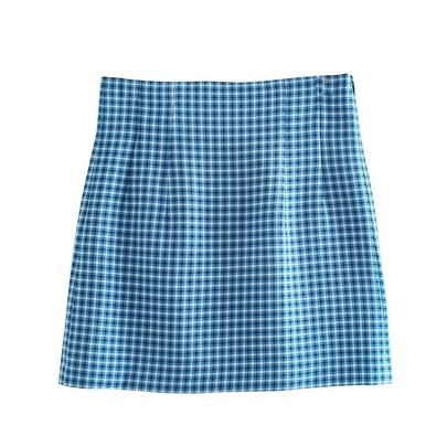 Wholesale New High-waist A-line Blue Plaid Skirt  NSAM54103
