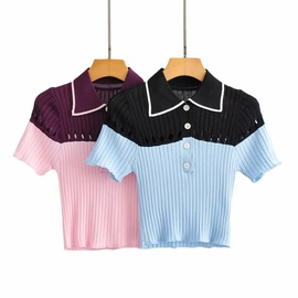 Wholesale Summer Contrast Color Small Waistless Knitted Pullover T-shirt NSAM54111