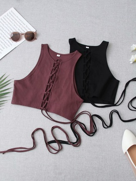 New Wholesale Spring Two-color Lace-up Top NSAM54114