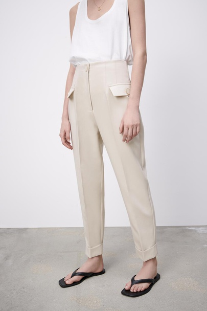 Wholesale New Simple High-waisted Slim Button Fashion Casual Pants  NSAM54115