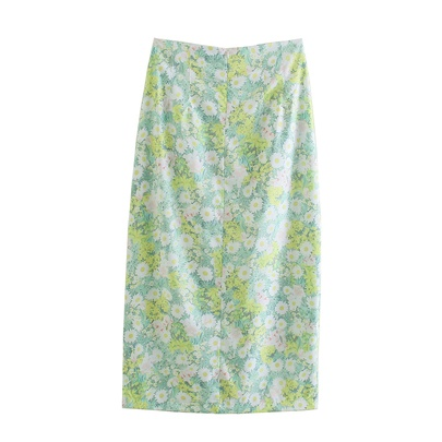 Wholesale New Floral Print Midi Split A-line Skirt  NSAM54116