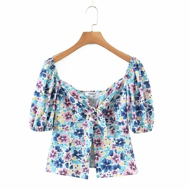 New Fashion Comfortable Wholesale Spring Floral Retro Shirt Top NSAM54117