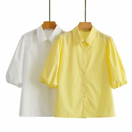 Wholesale Spring And Summer New Solid Color Shirt Short Sleeve Top NSAM54120