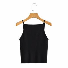 Wholesale Black Stretch Knit One-neck Sleeveless Vest NSAM54121