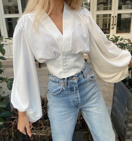 New Wholesale Spring Two-color Gloss Waist Blouse  NSAM54122