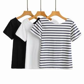 Wholesale New Open Back U-shaped Round Neck Short Sleeve T-shirt NSAM54131