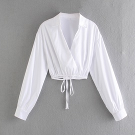 New Fashion Wholesale Spring White Gloss Strappy Blouse  NSAM54132
