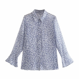 Wholesale Summer New Style Loose Retro Small Floral Long-sleeved Shirt NSAM54134