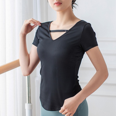 Skin-friendly High-elastic Ribbed Sports Short-sleeved T-shirt NSZHE54178
