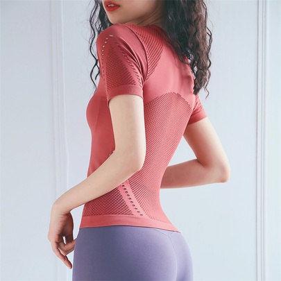 Tights Hollow Short-sleeved Breathable Stretch Quick-drying Sports T-shirts  NSRMA54192