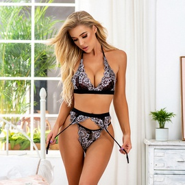 New Perspective Three-piece Black Uniform Lace Sexy Set NSMAL54220