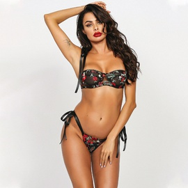 New Three-point Rose Embroidery Lace-up Sexy Set NSMAL54240