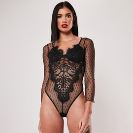 Lace Long Sleeve Sheer One-piece Underwear NSMAL54243
