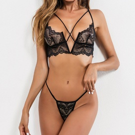 New Hollow V-neck Strap Three-point Sexy Lingerie Set NSMAL54245