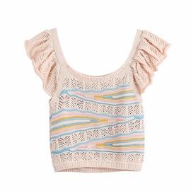 Wholesale Spring Jacquard Mesh Knitted Vest Shorts Set NSAM54260